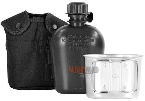 Mil-Tec US Plastic Canteen with Cup LC2 Black